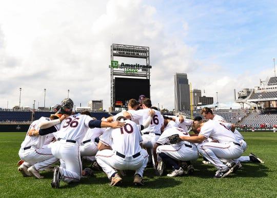 The Auburn baseball team at the College World Series on Wednesday, June 19, 2019, in Omaha, NE.