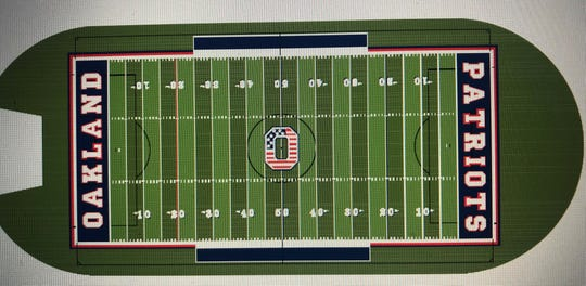 An artist rendering of Oakland's football field once installation of artificial turf is completed.
