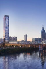 An architectural rendering of the 40-story Four Seasons Hotel and Private Residences tower underway near Ascend Amphitheater