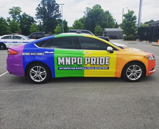 The Metro Nashville Police Department's new rainbow colored car designated for their Safe Place Program.