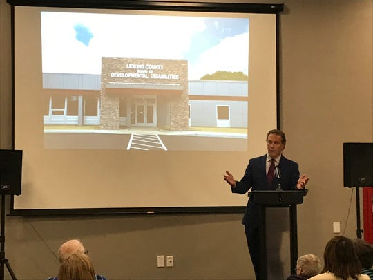 Jeff Davis, director of the Ohio Department of Developmental Disabilities, talks Thursday during the re-dedication of the E.S. Weiant Center.
