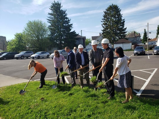 Groundbreaking was conducted recently at the site of the former Swank building on Granville Street in Newark for the new Faith and Family Center at St. Francis de Sales parish.