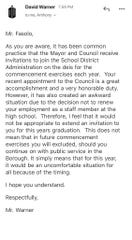 An email sent by Principal David Warner to Councilman Francesco Fasolo, who is a teacher at Elmwood Park Memorial High School this year.