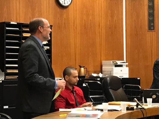 Damien Edwards with his attorney Paul Condon.