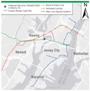 A map of NJ Transit's power project called Transitgrid. The star represents where a gas-fired power plant would be built. It shows the rail lines to which it would supply electricity.