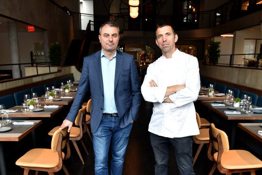Owners Dominique Paulin, left, and Olivier Muller, give us a sneak peak of Faubourg, a French restaurant, on Bloomfield Ave on Thursday June 20, 2019 in Montclair, N.J.