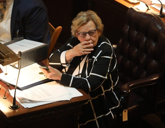 Senate Majority Leader Loretta Weinberg  on the Senate floor during the budget debate on June 20, 2019.