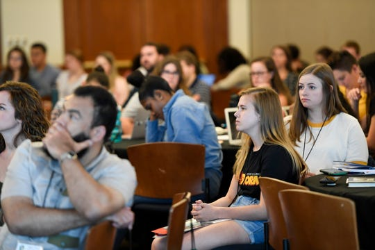 Students listen to Myrna Perez (not pictured) deliver the keynote address on the state of voting rights in 2019 during the National Civic Leadership Training Summit at Montclair State University on Thursday, June 20, 2019.