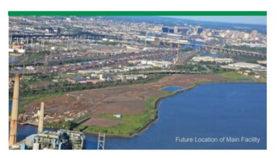 Aerial view of the Koppers Koke site along the Hackensack River in Kearny where NJ Transit wants to build a new gas-fired power plant.