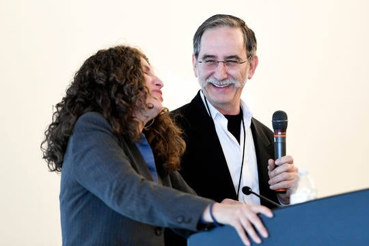 David Goodman, right, president of The Andrew Goodman Foundation, laughs with Myrna Perez after Perez delivered the keynote address on the state of voting rights in 2019 during the National Civic Leadership Training Summit at Montclair State University on Thursday, June 20, 2019.