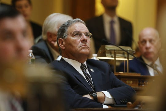 Assembly Minority leader Jon Bramnick looks up at the vote as the budget passed the Assembly on June 20, 2019.