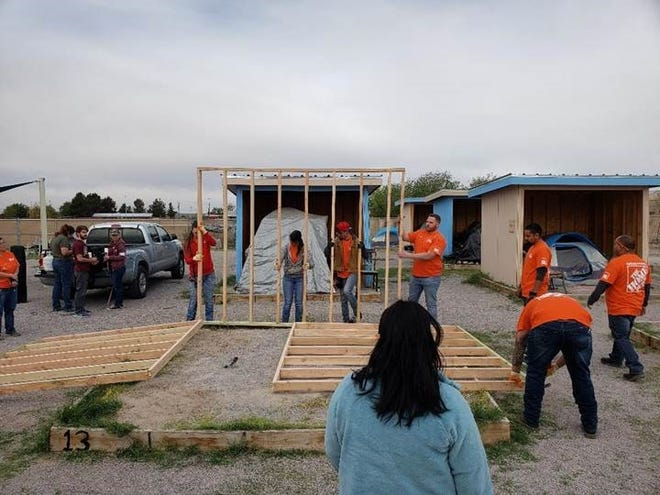 Home Depot 3505 spent Volunteer Day in April at the Mesilla Valley Community of Hope constructing five shelters for Camp Hope.