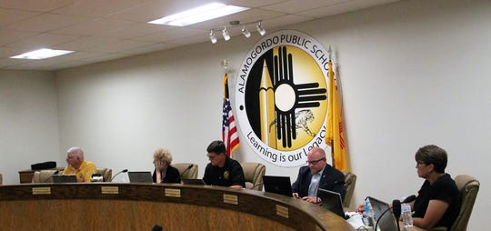 The Alamogordo Public Schools Board of education at their regular meeting June 19. From left: APS Board Member David Weaver, APS Board Secretary Carol Teweleit, APS Board President Timothy Wolfe, APS Superintendent Jerrett Perry and APS Board Vice- President Angela Cadwallader.