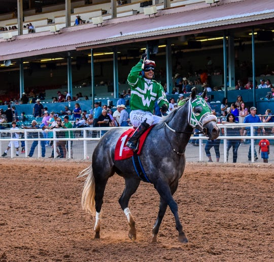 Luis Rodriguez with Four Star Saint to win $30,000 Ruidoso Sprint Handicap.