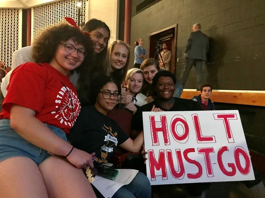 A group of students sat front row at the June 20 school board meeting to push for Holt's dismissal.