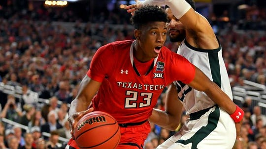 USA; Texas Tech Red Raiders guard Jarrett Culver (23) drives to the basket against Michigan State Spartans forward Kenny Goins (25) during the first half in the semifinals of the 2019 men's Final Four at US Bank Stadium. Mandatory Credit: Bob Donnan-USA TODAY Sports (Bob Donnan)