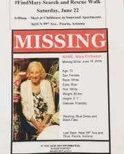 A flyer for the #FindMary Search and Rescue Walk