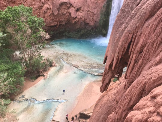 The view from the top of Mooney Falls, about a mile from the Havasupai campground. Hikers go through a tunnel carved into the rocks, then down a set of chains and ladders to reach the bottom.