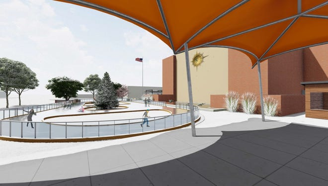 A closer look at the proposed ice rink for McMorran Plaza.