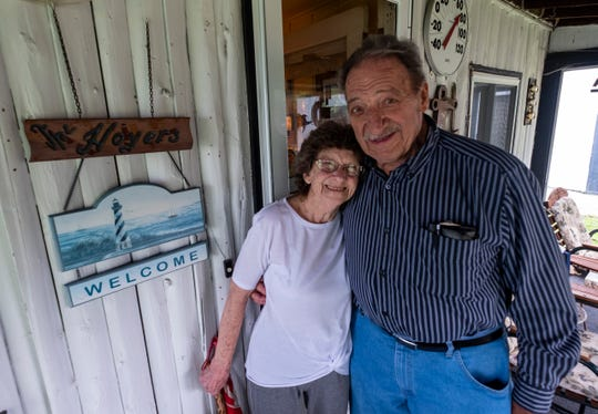 George Hoyer, right, pictured with Irene Kotas, Thursday, June 20, 2019, on the front porch of his Marine City home. Hoyer and Kotas, ages 90 and 85, are getting married this weekend in Marine City.