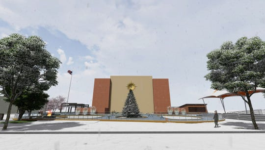 Plans for McMorran Plaza allow for an ice rink in the winter.