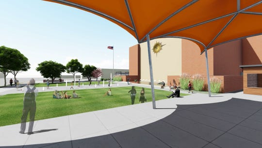 To the north side of the McMorran Plaza area is a tented stage area, as part of the proposed first phase of improvements. Future plans could include a concessions and bathroom building.