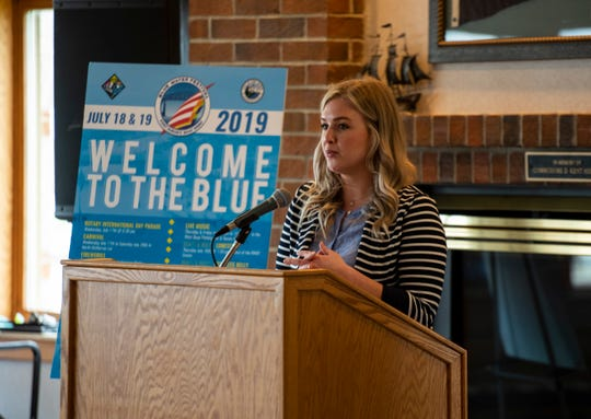 Downtown Development Authority Director Natalie Watson speaks at a presser for the Bell's Beer Bayview Mackinac Race Thursday, June 20, 2019, at the Port Huron Yacht Club