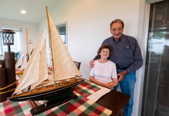 George Hoyer, right, pictured with Irene Kotas, Thursday, June 20, 2019, on the back porch of his Marine City home. Hoyer and Kotas, ages 90 and 85, are getting married this weekend in Marine City.