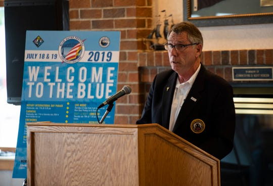 Bell's Beer Bayview Mackinac Race Chair Robert Nutter speaks at a presser for the race Thursday, June 20, 2019, at the Port Huron Yacht Club.