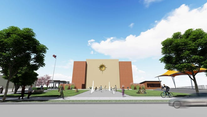 McMorran Plaza plans include water features and gathering areas around artificial turf.