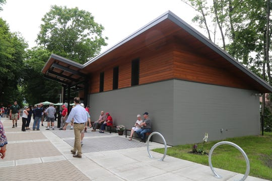 The Dutchess Welcome Center at the Walkway over the Hudson opened on June 20. with a new look for the Poughkeepsie entrance to the pathway. The new facilities include bathrooms, bike racks, a seating area and dog stations.