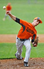 Northeastern's Chris Moyer is shown here pitching against Red Lion in American Legion baseball action earlier this season. Moyer has a 0.98 ERA on the season.