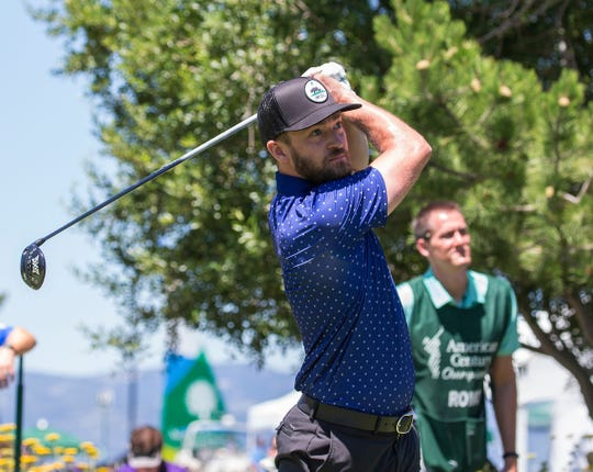 Justin Timberlake swings during the American Century Championship at Edgewood Tahoe Golf Course in Stateline on July 15, 2017.