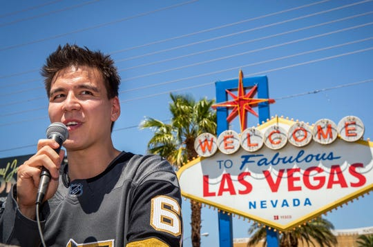 """FILE - In this May 2, 2019, file photo, """"Jeopardy!"""" sensation James Holzhauer speaks after being presented with a key to the Las Vegas Strip in front of the Welcome to Fabulous Las Vegas sign in Las Vegas. The Nielsen company says that 14.5 million people watched Holzhauer's final show on June 3. That's when the professional gambler from Las Vegas was beaten after 32 consecutive wins and more than $2.4 million in prize money.  (Caroline Brehman/Las Vegas Review-Journal via AP, File)"""