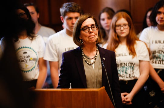 Gov. Kate Brown speaks to the media in her office after calling on Oregon State Police to track down absent Republican senators on Thursday, June 20, 2019.
