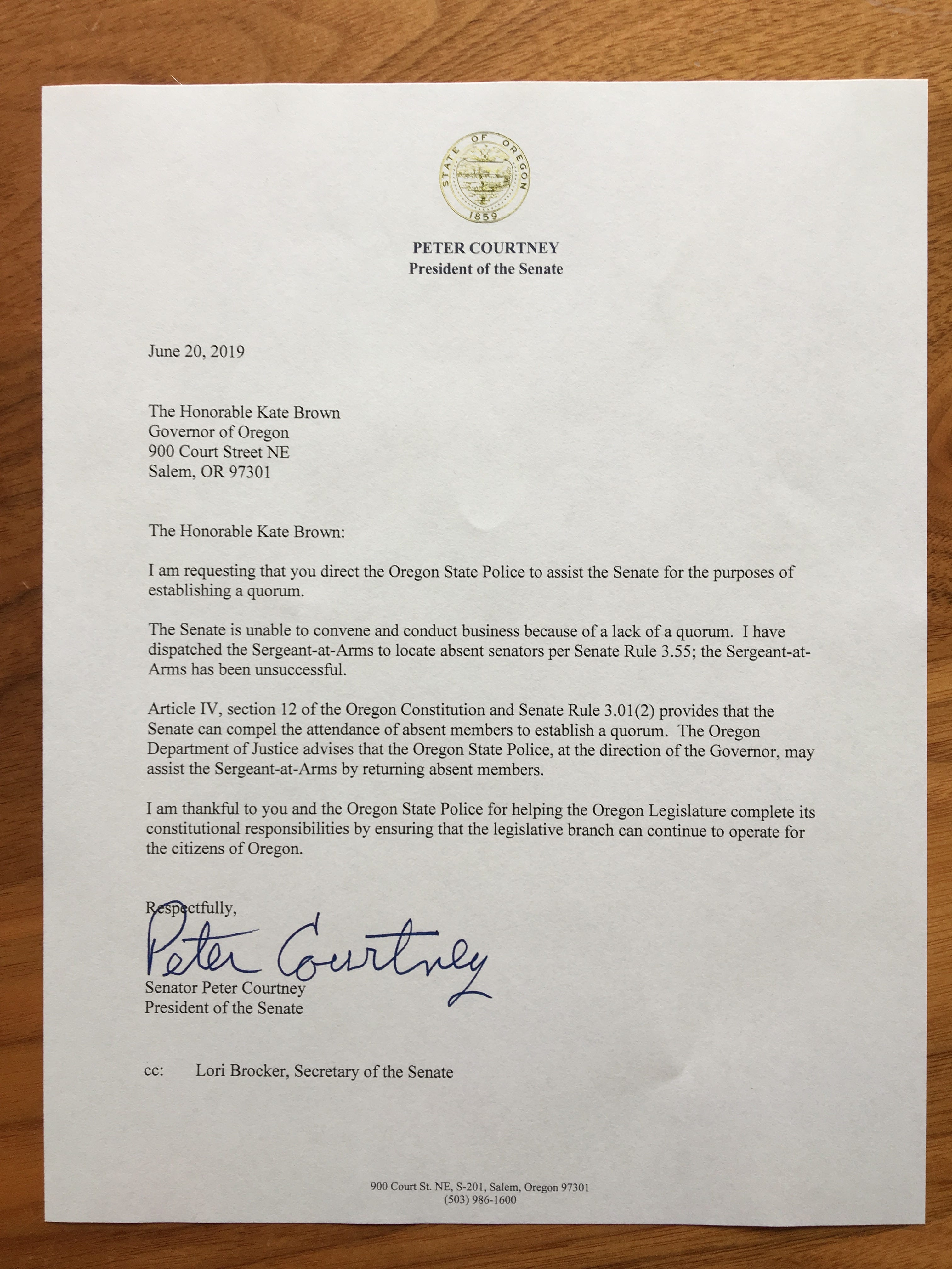 Sen. Courtney letter