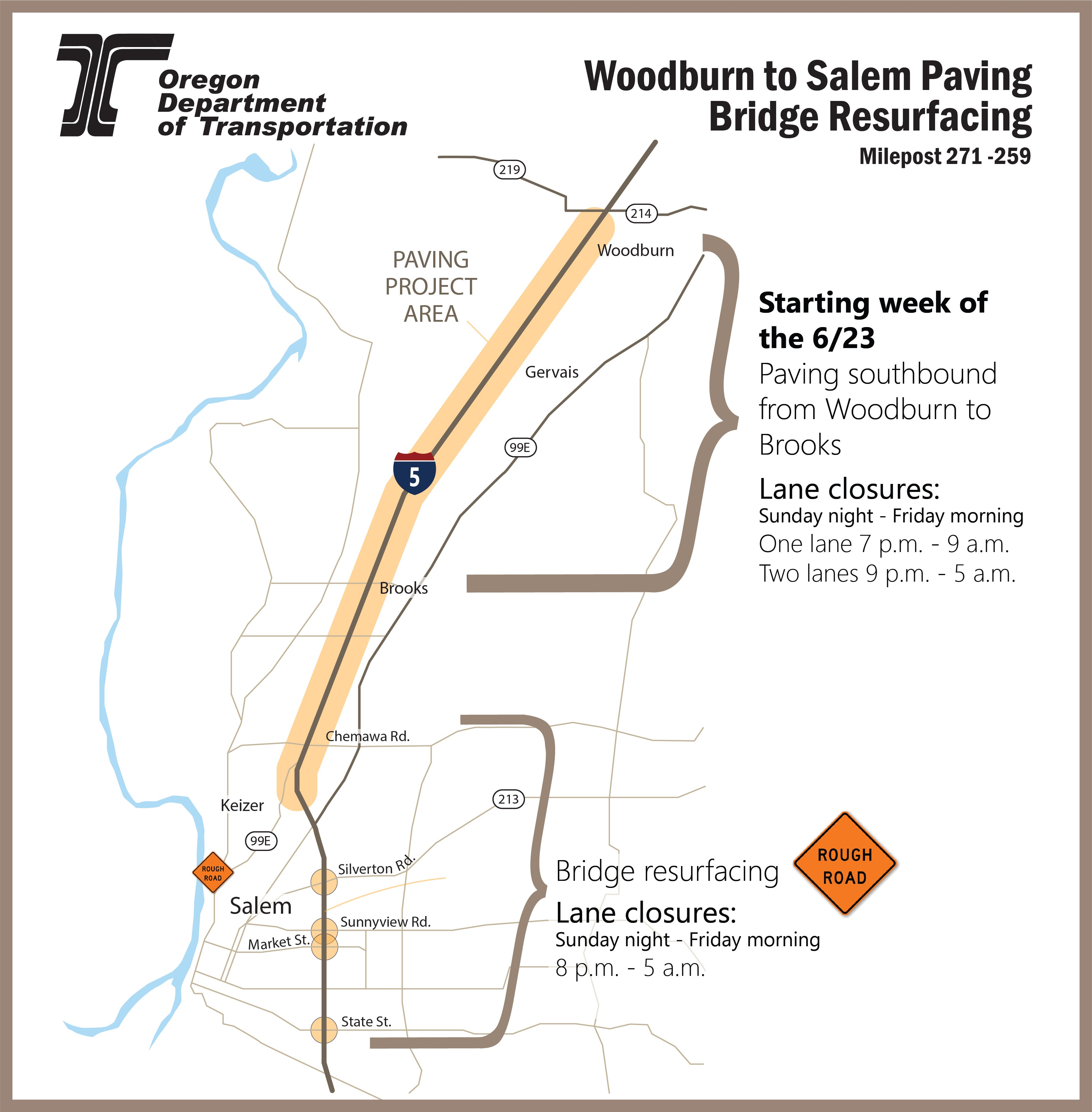 I-5 paving project map