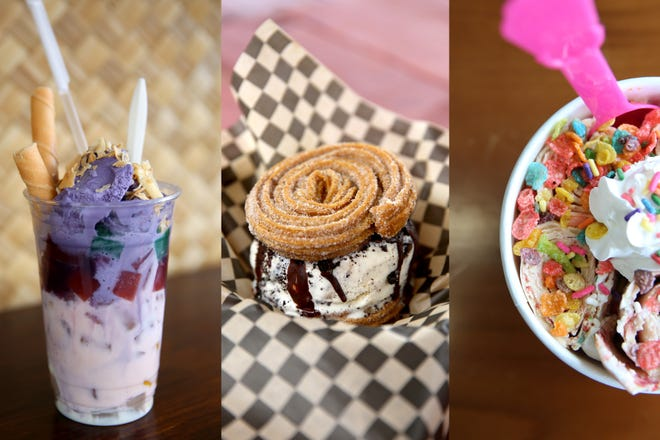 A halo halo from Nanay's Ba-Hi, a churro ice cream sandwich from Don Bigote and rolled ice cream from 22 Below.