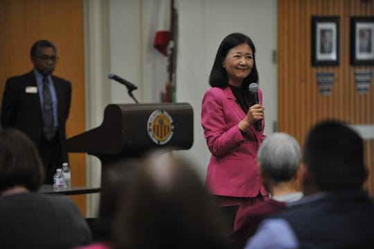 Patricia Hsieh, a candidate for Hartnell College's next superintendent/president, addresses the forum in Salinas on June 20, 2019.