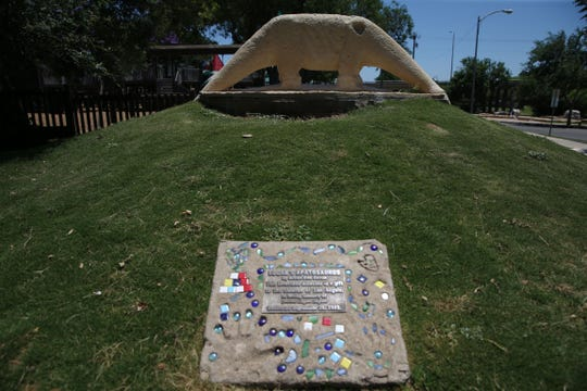 Logan's Apatosaurus is a sculpture dedicated to Joshua Logan Seifert, a 5-year-old San Angelo boy who died in 2002. The sculpture was found vandalized Thursday morning at Kids Kingdom.