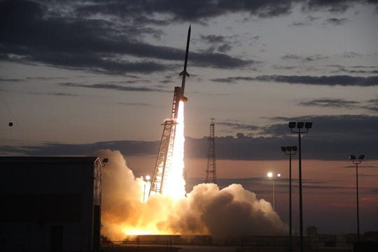 Students watched Thursday as NASA's 2-stage Terrier-Improved Orion rocket launched their experiments into space.