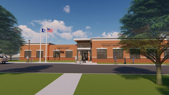 A rendering of the exterior of the new Eastern Shore Regional Library to be built in Parksley, Virginia