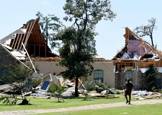 Bossier Parish Sheriff Deputy Carl Jones house was damaged from a tornado Wednesday evening, June 19, 2019, along Butler-Hill Road in Benton.