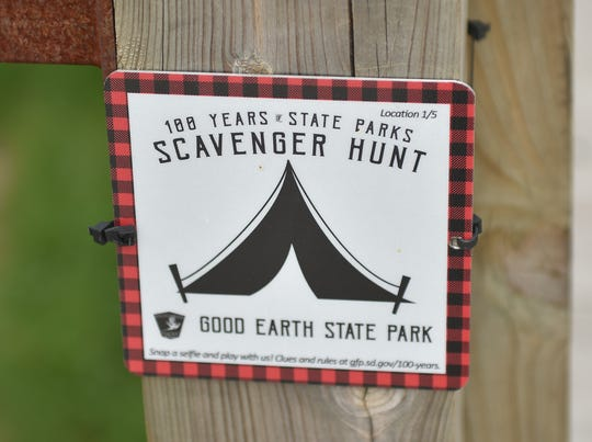 A red marker is posted at an undisclosed location at Good Earth State Park.