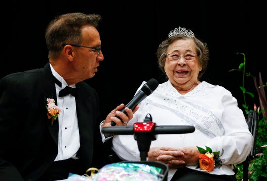 Spring Valley Health and Rehab resident Bette Davis is interviewed by Rob Dvorak during the District 4 Ms. Missouri Nursing Home Pageant at the Oasis Convention Center on Wednesday, June 19, 2019, in Springfield, Mo.