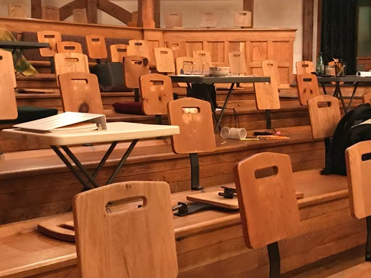 One of the unique aspects of American Shakespeare Center's Blackfriars Playhouse in Staunton, Virginia, is that the theater was built by members of the community. In this photograph taken on Wednesday, June 19, 2019, the Lord's chairs and stools and backs of the benches were originally built by Staunton's Modern Boy Woodshop's Paul Borzelleca. Borzelleca made the back of the seats in so they could be removed and adjusted to accommodate larger audiences.