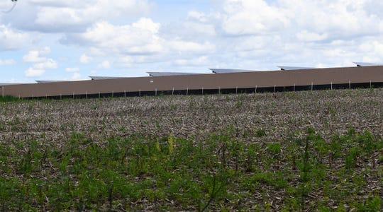 A new solar farm is barely visible behind a fence near Greg Rakotz's property.
