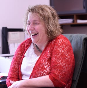 St. Joseph City Administrator Judy Weyrens laughs in her office, Thursday, June 20 at the St. Joseph Government Center. Her last day will be on July 12.