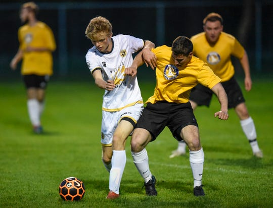 Logan Lommel tries to get control of the ball during a St. Cloud Dynamo FC game against Waconia Thursday, May 17, at Whitney Park in St. Cloud.