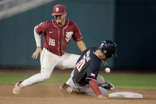 Texas Tech's Max Marusak (20) steals second base against Florida State shortstop Mike Salvatore (16) during the seventh inning of an NCAA College World Series baseball game in Omaha, Neb., Wednesday, June 19, 2019. (AP Photo/Nati Harnik)